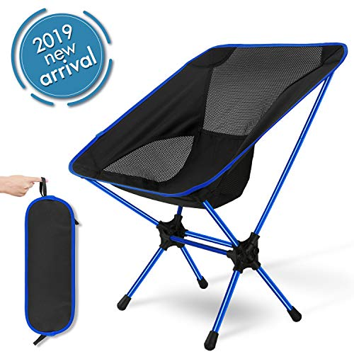 XGEAR 2019 Upgraded Ultralight Portable Folding Camping Chair Compact for Outdoor Camp, Travel, Beach, Picnic, Festival, Hiking, Lightweight Backpacking-Blue