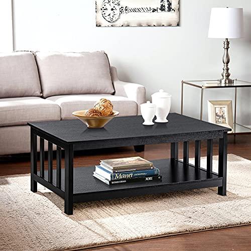 ChooChoo Mission Coffee Table, Black Wood Living Room Table with Shelf, 40 Black