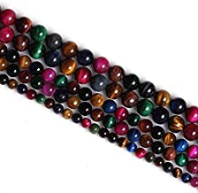 Excellent Red Yellow Gold Blue Green Rose Multi Tiger Eye Stone Beads Natural Stone Loose Beads For Jewelry Making 6MM 8MM 10MM 12MM By Ruilong (8MM, Multi)