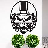 Tianpengyuanshuai Chambre d'enfant crâne Casque Autocollant Mural Sport personnalité créative Chambre d'enfant Amovible Vinyle Autocollant mural59X73 cm