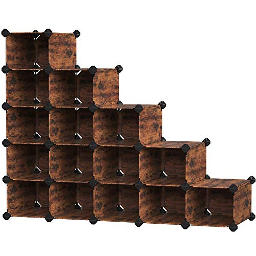 SONGMICS Shoe Rack Space-Saving 15-Slot Plastic Shoe Storage Organizer Unit Modular Cabinet Ideal for Entryway Hallway Closet Garage 445 x 142 x 346 Inches Rustic Brown ULPC445A01
