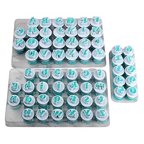 Cikuso 26Pcs Mayúsculas, Letras Minúsculas De Plástico, Números De 10 Pcs. Juego De Moldes para Pastel De Fondant (3 Juegos/Lote)