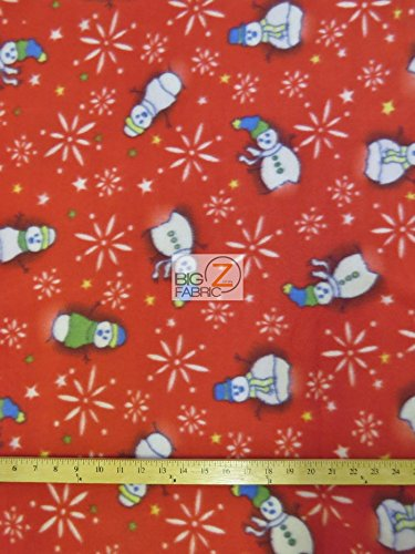 Christmas Polar Fleece Fabric Sold by The Yard Baby Blanket Winter Snowman (Red)