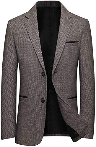Men's 2 Button Luxe Camel Hair Suit Jacket Sport Coat Blazer Overcoat Outwear,Khaki,XX-Large