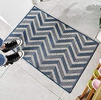 Risareyi 玄関マット 屋外 室内 おしゃれ 北欧 泥落としマット 滑り止め 耐磨耗性 速乾 吸水 業務用 (Color : Blue-2, Size : 80x120cm)