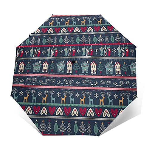 Travel Umbrella Christmas Sock Deer Umbrella Automatic Open Close Umbrella Portable Folding Umbrella Novelty Golf Umbrellas For Men Women Boys Girls
