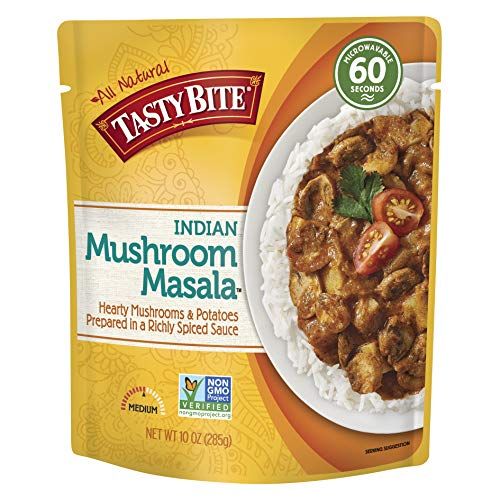 Tasty Bite Indian Entree Mushroom Masala 10 Ounce Pack of 6 Fully Cooked Indian Entrée with Mushrooms amp Potatoes in a Richly Spiced Sauce Vegan Gluten Free Microwaveable Ready to Eat