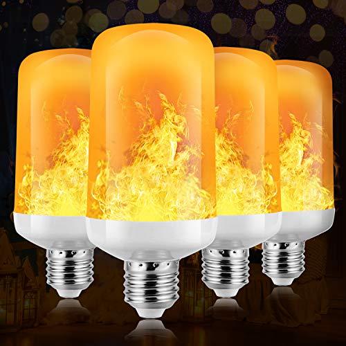 Flamme Glühbirne, 4W E27 Base Flammen Lampe, 4 Beleuchtungsmodi dekorative Atmosphäre Lampen für Halloween, Weihnachten, Haus, Restaurants, Bar Party und so weiter (Gelb, 4 PCS)