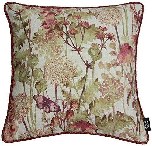 McAlister Textiles Impressionist | Wildblumen bedruckter Floral Kissenbezug 40cm x 40cm in Würze-Motiv | Deko Kissenhülle