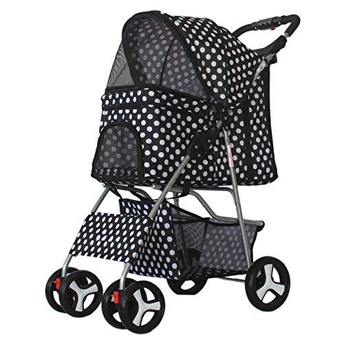 Axonl Pet Stroller, 4 Wheels Dog Stroller, Portable Cat Carrier Stroller, 2 Layers Foldable Pet Stroller for Medium & Small Dogs & Cats Transportation (Black White Dots, 4 Wheels)