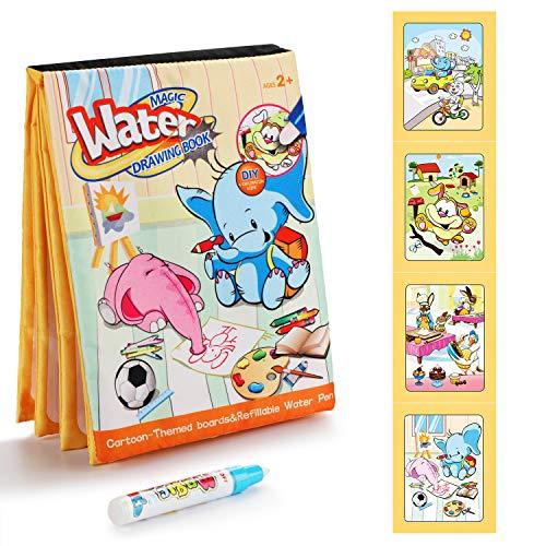 Fansteck Agua Dibujo Pintura, Libro Mágico de Colorear para niños, Libros Infantiles de Agua Doodle, Juguete de Watercolor Drawing Book, Regalo Ideal para Cumpleaños, Fiestas para niños de 2+ años