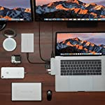 """HyperDrive USB C Hub, Sanho USB-C Duo 7-in-2 for MacBook Pro Air, Magnetic Grip HDMI 4K60Hz HDR 100W PD 40Gbps USB 3.1 14 Historical most crowdfunded Macbook accessory on Kickstarter and Indiegogo. World's Most Compact and Fastest USB C Hub specifically designed for MacBook Pro and MacBook Air.(Dual-USBC-port design on USB-C hubs is HyperDrive' PATENT.) Dual USB-C Data & Power Delivery: HyperDrive is the only MacBook Pro/Air USB C hub with two USB-C ports that support Power Delivery (PD) & Data (40Gbps/max 100W/5K video output + 5Gbps/max 60W). Expand the two USB-C ports on MacBook Pro/Air into 7 ports (High-Resolution 4K HDMI, 40Gb/s USB-C, 5Gb/s USB-C, SD, microSD, 2 x USB 3.1). HyperDrive DUO 7-in-2 USBC Hub is compatible with MacBook Pro 16"""" 2019 2018 2017 2016 13""""/15"""" and MacBook Air 2019 2018."""