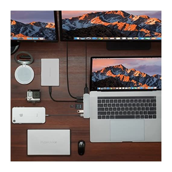 """HyperDrive USB C Hub, Sanho USB-C Duo 7-in-2 for MacBook Pro Air, Magnetic Grip HDMI 4K60Hz HDR 100W PD 40Gbps USB 3.1 7 Historical most crowdfunded Macbook accessory on Kickstarter and Indiegogo. World's Most Compact and Fastest USB C Hub specifically designed for MacBook Pro and MacBook Air.(Dual-USBC-port design on USB-C hubs is HyperDrive' PATENT.) Dual USB-C Data & Power Delivery: HyperDrive is the only MacBook Pro/Air USB C hub with two USB-C ports that support Power Delivery (PD) & Data (40Gbps/max 100W/5K video output + 5Gbps/max 60W). Expand the two USB-C ports on MacBook Pro/Air into 7 ports (High-Resolution 4K HDMI, 40Gb/s USB-C, 5Gb/s USB-C, SD, microSD, 2 x USB 3.1). HyperDrive DUO 7-in-2 USBC Hub is compatible with MacBook Pro 16"""" 2019 2018 2017 2016 13""""/15"""" and MacBook Air 2019 2018."""