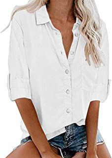 Bigine Womens Long Sleeve Turn-down Collar Pocket Button Tee Casual Blouse Tops(S-5XL)