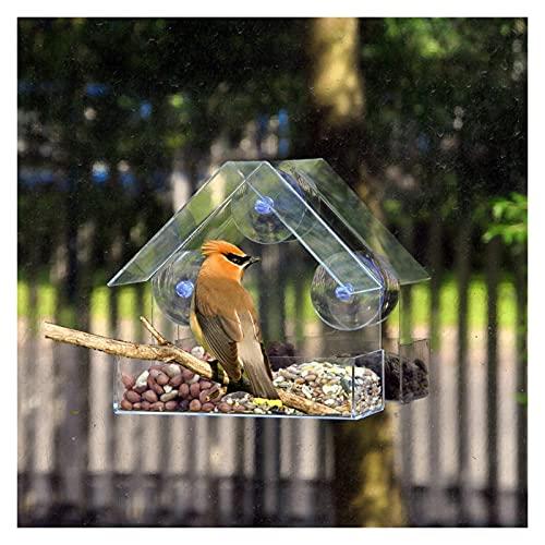 Comederos para pájaros, Ventana creativa Alimentadores de aves Ventana de cristal transparente Vista de aves Pájaro Mesa de Pájaro Tabla de maní Colgando succión para pájaros de mascotas para jardín a