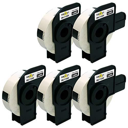 Yellow Yeti 5x DK-11204 17 x 54mm Etiketten kompatibel für Brother P-Touch QL-500 QL-550 QL-570 QL-700 QL-710W QL-720NW QL-800 QL-810W QL-820NWB QL-1050 QL-1060N QL-1100 QL-1110NWB | 400 Stück/Rolle