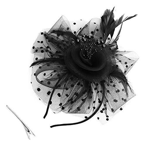 OTOTEC Zwarte Fascinator Hoofdband met Haar Clip Mesh Imitatie Parel Bloem Veer Haaraccessoires Bruiloft Meisjes Vrouwen