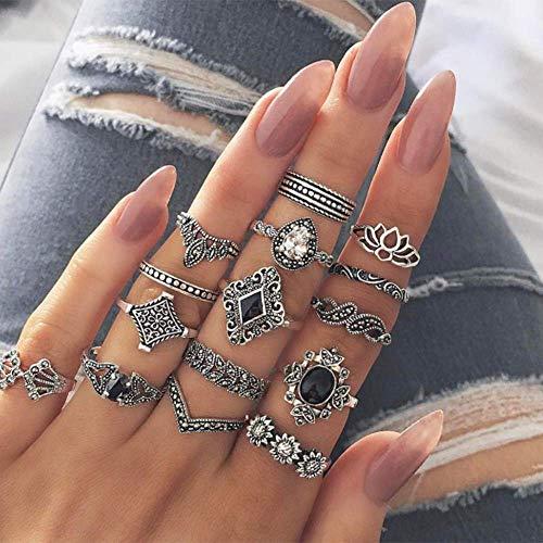 BERYUAN 15Pcs Boho Knuckle Flower Black Vintage Ring Set Vintage Silver Crystal Joint Knuckle Ring Set for Women and Girls