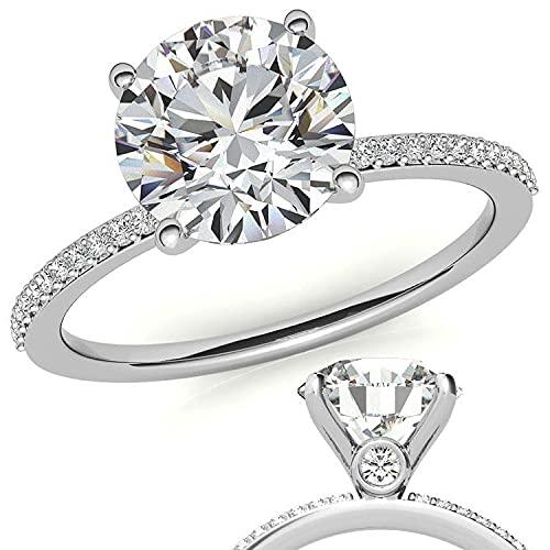 Customize Jewels - Anillo de compromiso pequeño moissanita redondo de 3,50 quilates de 9,5 mm con diamante de laboratorio en oro blanco de 14 k D-VVS1 7