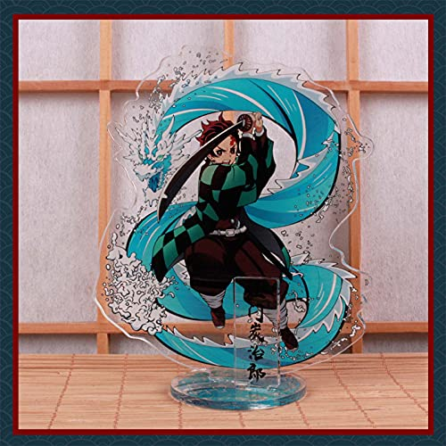 Anime Demon Slayer - Figura de pie (acrílico, transparente, de doble cara, para decoración de la habitación, coleccionables de escritorio, regalo de ventilador (L)