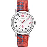Nautica Men's N83 Loves The Ocean Brass Plated Stainless Steel Quartz Nylon Strap, Red, 20 Casual Watch (Model: NAPLSS004)