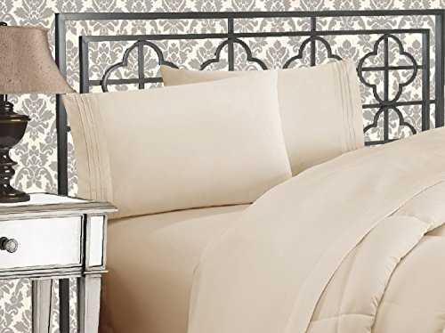 Elegant Comfort Luxurious 1500 Thread Count Egyptian Three Line Embroidered Softest Premium Hotel Quality 4-Piece Bed Sheet Set, King, Cream