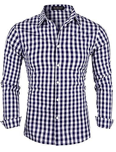 MAROJO Herren Kariertes Hemd Langarm Baumwolle Karo Freizeithemd Trachtenhemd (Blau, L)