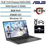 "2020 Newest ASUS VivoBook 15.6"" FHD Thin Light Business Student Laptop, AMD Ryzen 5 3500U(Beat i7-7500U) 8GB RAM 256GB SSD, Radeon Vega 8, Fingerprint, HDMI, USB-C, Windows10, w/GM Accessories"