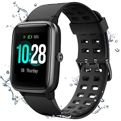 Muzili Smart Watch IP68 Waterproof Fitness Tracker for Swimming 1.3'' Large Color Full Touch Screen Sport Watch with Heart Rate Monitor Sleep Monitor Pedometer 9 Sports Modes (Black)