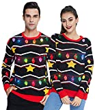 Women's Light Up Christmas Sweater Men's Ugly Christmas Black Balls Pullover Shirt with Lights Family Funny Boys Xmas Jumper Long Sleeve Knitted Sweatshirt