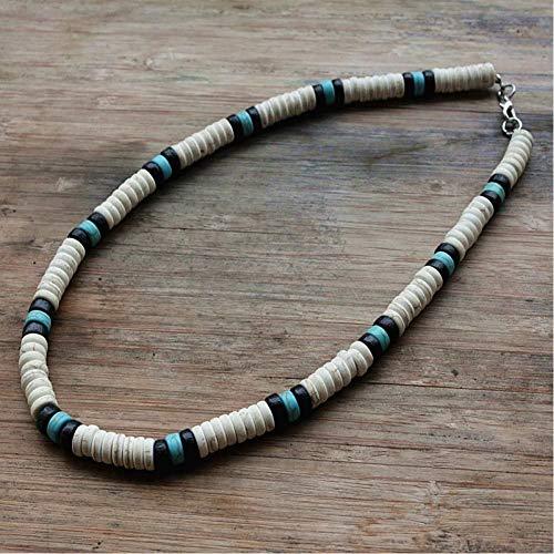 CXKEB Collar de Surfista Hecho de Cuentas Blancas Negras y Azules para Hombres Joyas Tribales