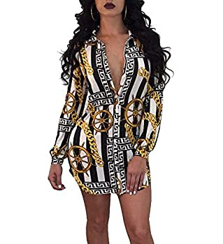 Remelon Womens Chain Anchor Print Button Down Collar Long Shirt Dress Blouse Mini Dress Black XXXL