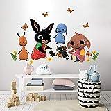 b_r0009 adesivi murali effetto tessuto bing cartoon flop amma pando padget sula decorazione muro cameretta bambino