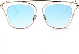 Fashion Personality Retro Round Face Sunglasses Driving Europe and America Retro Sunglasses Glasses Retro (Color : Blue)