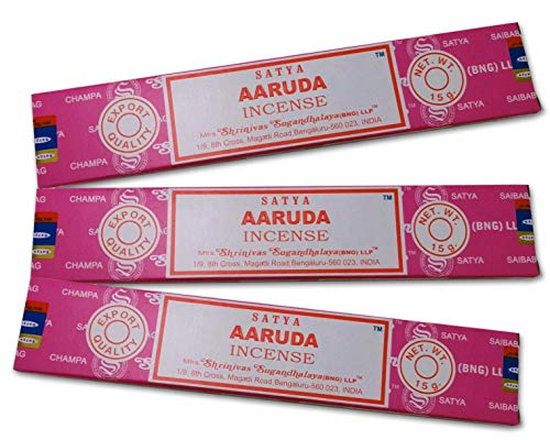 Satya Incienso Aromático AARUDA, Incienso Natural Aromaterapia, Barras de Incienso, 3 Cajas de 15 grs., Gran Duración