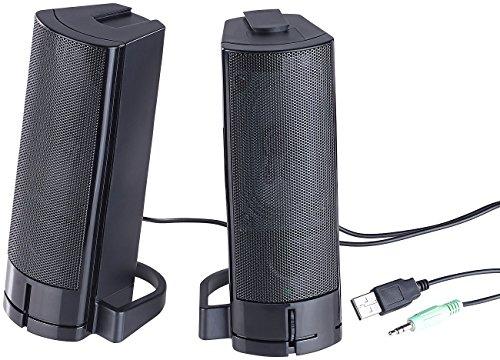 auvisio PC Boxen: 2in1-PC-Stereo-Lautsprecher und Soundbar, 10 Watt, USB-Stromversorgung (PC Speaker)