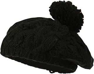City Hunter Twist Beret Knit Pom Pom - Black
