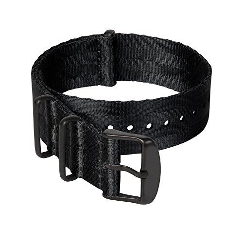 Archer Watch Straps - Sicherheitsgurt Stil Gewebtes Nylon NATO Uhrenarmband - Schwarz/Schwarze Hardware, 20mm