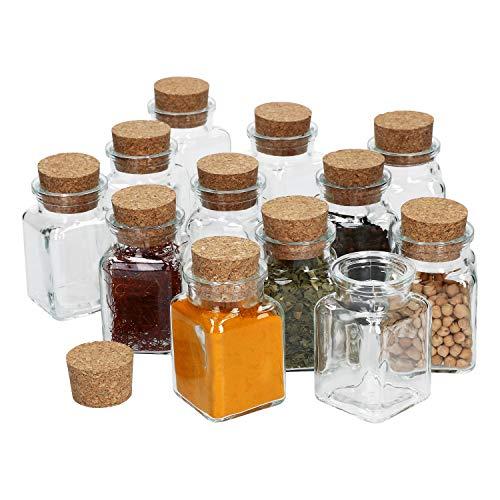 MamboCat 12-delig Kruidenpotjes met kurksluiting, vierkantglas, 150 ml, herbruikbare bewaardoos voor het opbergen van keukenkruiden en specerijen