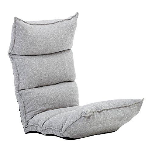 BONZY Floor Chair Foldable Gaming Chair Adjustable Floor Chair 22-3/4'W x 57' D x 6' H - Smoke Gray