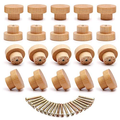 SurePromise - Juego de 20 pomos de madera natural para puertas de cajones (35 x 25 mm)