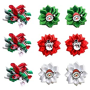 Masue Pets Christmas Puppy Dog Hair Bows with Rubber Bands Curve Bows Petal Flower Dog Bowknot Bows Small Festival Dog Accessories Combination Gift (for Christmas Set)