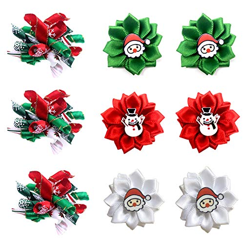 Masue Pets Christmas Puppy Dog Hair Bows with Rubber Bands Curve Bows Petal Flower Dog Bowknot Bows...