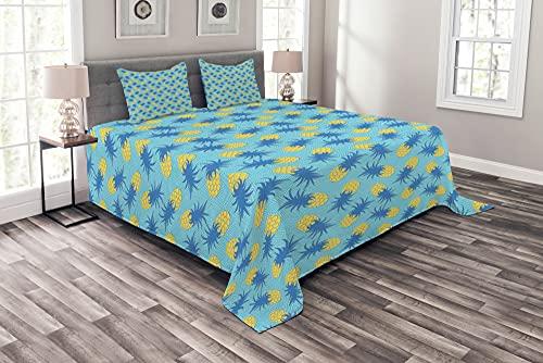 ABAKUHAUS Ananas Tagesdecke Set, Schmackhafte Tropical Sommer, Set mit Kissenbezügen Feste Farben, 220 x 220 cm, Azurblau & Senf