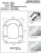 ACB//COLBAM Copriwater in Legno Rivestito di Poliestere per Senesi PIENZA-PIENZA SOSP Bianco Cerniera Cromo-Sedile-ASSE WC