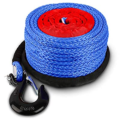 """STEGODON 3/8"""" x 100ft Synthetic Winch Rope 23,809lbs Dyneema Winch Cable Line with Hook and Sleeve Protection Car Tow Recovery Cable for 4WD Off Road Vehicle Truck SUV Jeep(Blue)"""