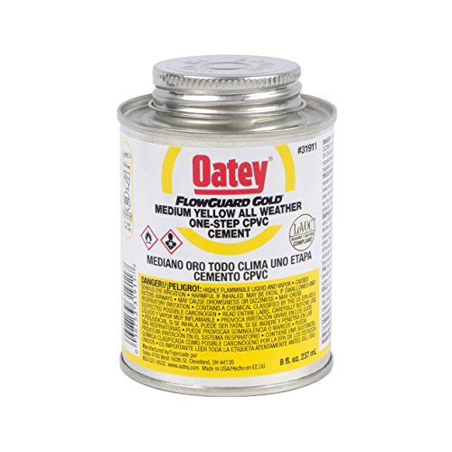 Oatey FlowGuard Gold 1-Step Yellow Cement is a medium-bodied cement formulated for copper tube size (CTS) CPVC hot and cold potable water pipe and fittings up to 2