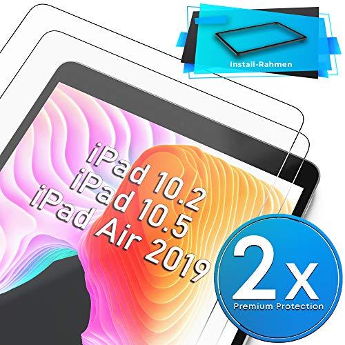 UTECTION - 2 pellicole protettive in Vetro con Montatura per iPad 7 10.2 / iPad PRO 10.5 / iPad Air 3, Vedi Foto #3, Contro i Danni al Display 9H, 2 Pezzi Bianco [2X] Clear