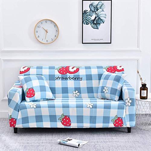 L&B-MR Funda de sofá elástica impresa, 1 funda de sofá ajustable, protector de muebles en forma de L para sofá de 1 2 3 4 (color: D, tamaño: 88,9 – 139,7 cm)