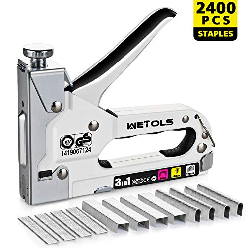 WETOLS Staple Gun, Heavy Duty Staple Gun, 3 in 1 Manual Nail Gun with 2400 Staples(D, U and T-type), for Upholstery, Material Repair, Carpentry, Decoration, Furniture, DIY - DY808